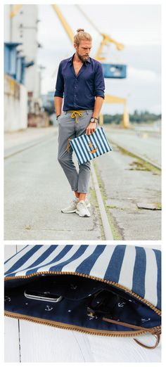 collaboration with Friedrich Danne: blue white striped nautical case, men clutch with leather anchor made of canvas