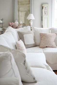 Shabby Chic Decor & Inspiration in this living room with white sectional and pink accents. White Sectional, White Couches, Comfy Couches, Cozy Sofa, Sectional Sofa, Sofa Slipcovers, Comfortable Couch, White Cushions, Shabby Chic Homes