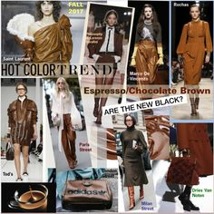 Hot Color Trend: Espresso Chocolate Brown by watereverysunday on Polyvore featuring Yves Saint Laurent, Rochas, Dries Van Noten, Tod's, Marco de Vincenzo and Caffé