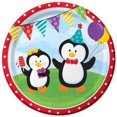 Cute Penguin Party Dinner Plates (8).  The perfect size for your guests to enjoy their dinner and other party snacks. These durable paper plates will rescue your birthday bash from the after-party cleanup session!  (8 pcs. per set) 22.9cm