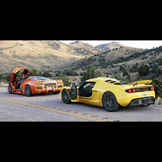 Hennessey Venom GT vs SSC Ultimate Aero all now we need is the Bugatti