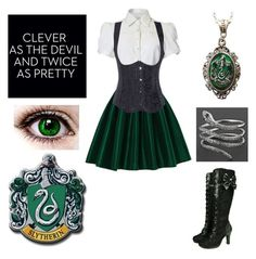 """Slytherin"" by shadow-cheshire ❤ liked on Polyvore featuring Chicwish, Alkemie, women's clothing, women, female, woman, misses and juniors"