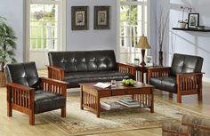3 Pc. Mission Style Oak and Espresso Finish Leatherette Futon Sofa/Bed Set
