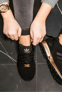 the best attitude 3a6af 580ee How GORGEOUS are these classic black ZX Flux trainers with a bronze  metallic twist  Sporty