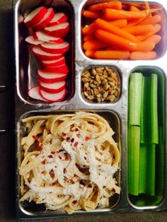 Celery, radishes, carrots, almonds, whole wheat fettuccine