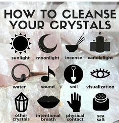 Do you know that crystals tend to absorb all the energies around and that you need to cleanse them once in a while? Here are some tips of how you can cleanse and charge your crystals: Use water. You can add sage lavender or sea salt to the water to enhan Chakra Crystals, Crystals And Gemstones, Stones And Crystals, Wicca Crystals, Chakra Stones, Crystal Guide, Crystal Magic, Crystal Shop, Crystal Jewelry