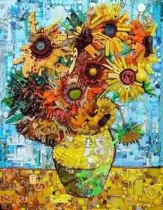 Sunflowers: Portrait Made From Recycled Material