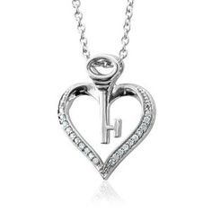 Sterling Silver Key My Heart Diamond Pendant Necklace (HI, I, 0.10 carat) - http://www.wonderfulworldofjewelry.com/jewelry/necklaces/pendants/sterling-silver-key-my-heart-diamond-pendant-necklace-hi-i-010-carat-com/ - Your First Choice for Jewelry and Jewellery Accessories