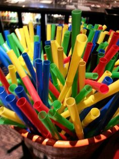Colorful straws at a local bar. Photo by me.