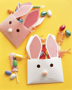 "A fun way to say ""Happy Easter"" is with paper-envelope rabbits -- bearing treats, of course."