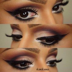 Umbra eyes and a long wingtip makes the eyes look great for both latin and standard ballroom. Visit http://ballroomguide.com/comp/hair_make_up.html for more hair and makeup info