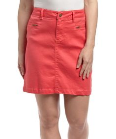 Geranium Brushed Twill Skirt by Larry Levine #zulily #zulilyfinds