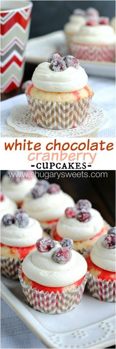 Sweet and easy, White Chocolate Cranberry Poke Cupcakes with sugared cranberries. Made with JELL-O, Cool Whip and white chocolate! Baking Cupcakes, Cupcake Recipes, Cupcake Cakes, Dessert Recipes, Cupcake Ideas, Fruity Cupcakes, Dessert Bars, Mini Cakes, Christmas Desserts