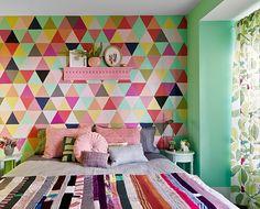 parede geometrica no quarto