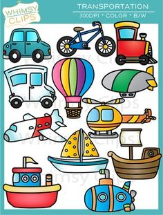 the transportation clip art set Preschool Learning Activities, Infant Activities, Preschool Crafts, Teaching Kids, Transportation Theme Preschool, Art For Kids, Crafts For Kids, Orchard Toys, Roses Book
