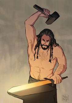 Anonymous asked: could you please draw Thorin standing near the fire in the smithy?