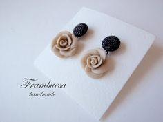 Frambuesa: Pendientes Rosa nude totalmente hechos a mano pvp 12 eur.