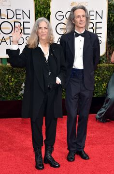 Patti Smith and Lenny Kaye at the 2015 Golden Globes.  (Photo: John Shearer/Invision/AP)