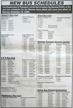 Bus Schedules - Western Zone (click on image to enlarge)