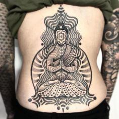 8a8b3f30ccc58 Sitting Buddha by Jondix #Jondix #blackandgrey #dotwork #linework #mandala  #pattern