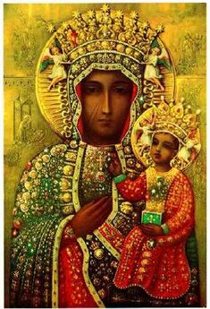 """Pope Francis to visit 'Black Madonna' in Poland during World Youth Day trip. Our Lady of Czestochowa, also known as the """"Black Madonna,"""" will be one of Pope Francis' primary stops during his visit to . Blessed Mother Mary, Blessed Virgin Mary, Religious Icons, Religious Art, Our Lady Of Czestochowa, La Madone, Queen Of Heaven, Les Religions, Mary And Jesus"""