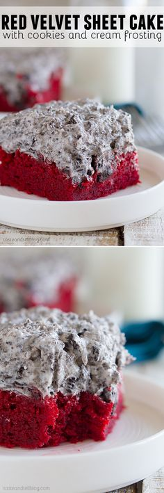 Red Velvet Sheet Cake with Cookies and Cream Frosting: Simple and perfect – this red velvet sheet cake recipe makes a cake that is dense and moist and is topped with a decadent cookies and cream frosting. This cake proves that simple can be amazing!