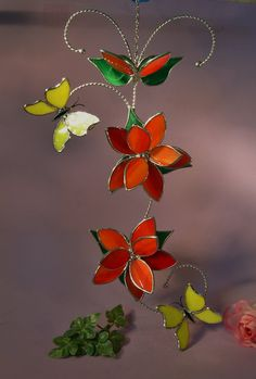 Stained Glass Butterflies with Flowers by StainedGlassbyWalter, $62.95