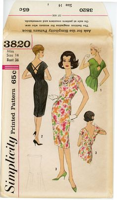 1960s Evening Dress Pattern Simplicity 3820 Bust 34 by CynicalGirl