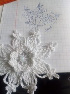 Crochet Angels, Crochet Snowflakes, Crochet Squares, Doilies, Knit Crochet, Christmas Crafts, Crochet Necklace, Crochet Patterns, Knitting