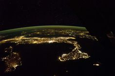 This image released by NASA Dec. 15, shows the easily recognized boot of Italy, with Sicily at its toe, spread across this panorama taken Oct. 21 by astronauts aboard the International Space Station(ISS). Some of the brightest clusters of lights are Rome and nearby Naples, with island cities of Cagliari on Sardinia and Catania on Sicilynow well-known as the hometown of European Space Agency astronaut Luca Parmitano. (NASA)