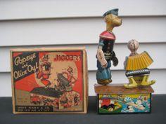 Scarce & Complete 1930's Marx Popeye & Olive Oyl Jiggers in Original Box C9+