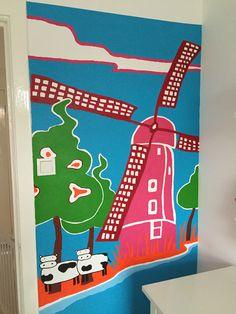 Muurschildering kleurrijk Kinderdijk