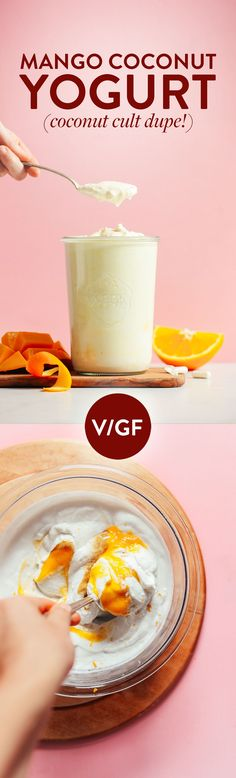 Tangy, mango-infused coconut yogurt that tastes like Coconut Cult! Made with 5 simple ingredients and simple methods. Super thick, creamy, and delicious! Whole Foods 365, Whole Food Recipes, Baker Recipes, Vegan Recipes, Fast Recipes, Delicious Recipes, Vegan Desserts, Dessert Recipes, Do It Yourself Food