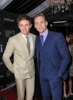 More double breatsed and 3 piece suit inspo for you! Eddie Redmayne and Tom Hiddleston. The colours Tom's wearing are perfect for you.