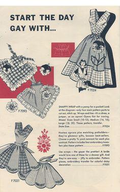 Start the Day Gay. Vintage Apron Pattern, Retro Apron, Vintage Dress Patterns, Aprons Vintage, Apron Patterns, Vintage Jumper, Vintage Dresses, Stephane Rolland, Yohji Yamamoto
