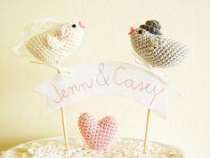 Cake topper pájaro de crochet