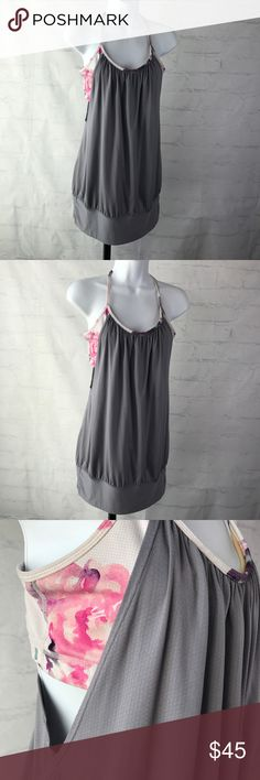 Lululemon Tank with Built In Sports Bra Lululemon Tank with Built In Sports Bra No Padding Gray Floral Print Size 8 No Trades No Rips No Holes lululemon athletica Tops Tank Tops