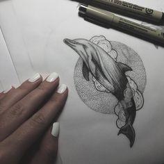 by nikulinatattoo - С удовольствием сделаю этого дельфинчика #tattoo #tattoos #tattooart #tattoosketch #sketch #dolphintattoo #dolphin