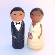 Personalized Wooden Cake Topper African American by Quinnipeg, $49.00