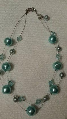 "Swarovski rhinestone and glass bead floating necklace 16"""