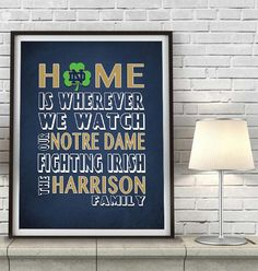 """Notre Dame Fighting Irish inspired Personalized Customized Art Print- """"Home Is"""" Parody- Retro, Vintage-  Unframed Print"""
