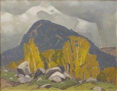"""""""Rain Clouds, Yantha Lake,"""" A.J. Casson, 1955, oil on panel, 12 x 15"""", private collection."""