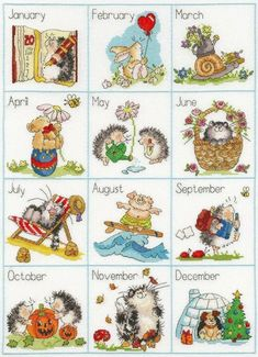 Calendar Creatures Counted Cross Stitch by Margaret Sherry from Bothy Threads Cute Cross Stitch, Cross Stitch Samplers, Counted Cross Stitch Kits, Cross Stitch Charts, Cross Stitch Designs, Cross Stitching, Cross Stitch Embroidery, Cross Stitch Patterns, Cross Stitch Thread
