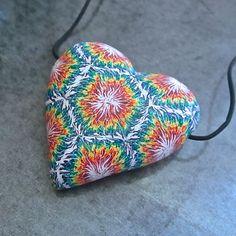 Rainbow Tie-Dye Sunburst Hollow Heart Bead Pendant by Deb Hart
