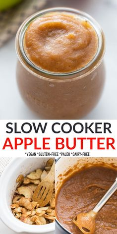 This Slow Cooker Apple Butter is easy to make in the crockpot and filled with intense apple flavor and a medley of delicious warm spices! This apple spread is the perfect condiment for fall and includes instant pot instructions in case you don't have a slow cooker. Freezer-friendly, naturally gluten-free, dairy-free, vegan and paleo-friendly. Bhg Recipes, Apple Recipes, Lunch Recipes, Fall Recipes, Crock Pot Desserts, Fun Desserts, Dessert Recipes, Delicious Crockpot Recipes, Yummy Recipes