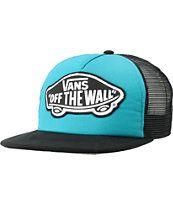 http://www.zumiez.com/vans-beach-girl-turquoise-and-black-snapback-trucker-hat.html