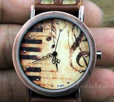 Brown leather bracelet watch piano watch women by littlecuteowl, $8.99
