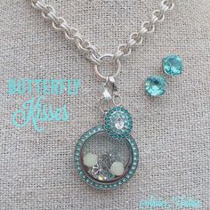 Butterfly Kisses - Origami Owl new aqua Swarovski crystal locket face, earrings, vintage dangle. Also new rose and butterfly charms.