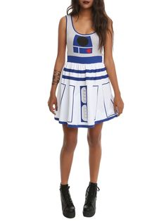 Super soft and stretchy fit & flare dress from Her Universe with Star Wars inspired R2-D2 design.