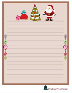 christmas stationery printable with santa, christmas tree and gifts